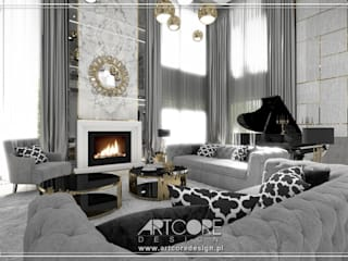 ArtCore Design Eclectic style living room Marble White