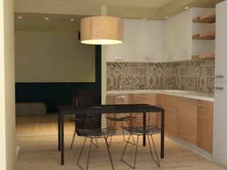 appartamento, ristrutturazione integrale, render: Cucina piccola in stile  di chiara gandolfi architetto, Moderno