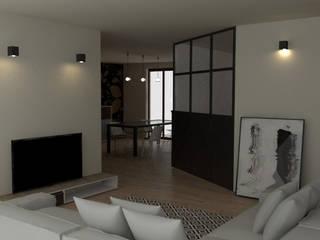 casa unifamiliare, ristrutturazione soggiorno/pranzo: Soggiorno in stile  di chiara gandolfi architetto, Moderno