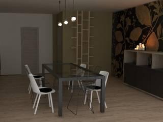 casa unifamiliare, ristrutturazione soggiorno/pranzo: Sala da pranzo in stile  di chiara gandolfi architetto, Moderno