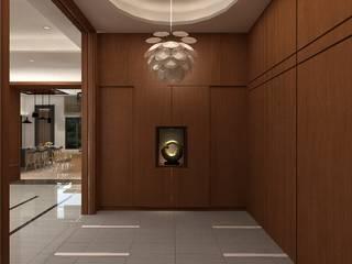 Pasillos, vestíbulos y escaleras de estilo clásico de 明景空間設計工作室 Clásico