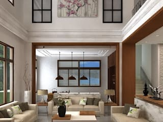 Salas de estilo asiático de 明景空間設計工作室 Asiático