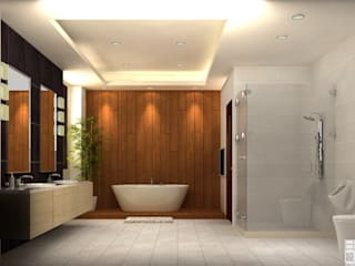 明景空間設計工作室 Asian style bathrooms Solid Wood Brown