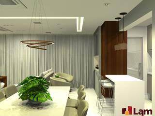 Apto. Massimo: Salas de jantar  por LAM Arquitetura | Interiores