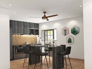 Modern with Scandinavian style flat interiors Modern kitchen by Rhythm And Emphasis Design Studio Modern