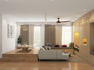 Modern with Scandinavian style flat interiors Modern living room by Rhythm And Emphasis Design Studio Modern
