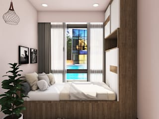 Scandinavian style flat interiors Scandinavian style bedroom by Rhythm And Emphasis Design Studio Scandinavian
