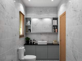 Modern bathroom design with a vanity unit Rhythm And Emphasis Design Studio 現代浴室設計點子、靈感&圖片