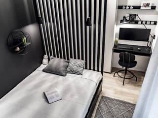 10m2 na sypialnię, domowe biuro i garderobę? Da się zrobić! SZARA / studio Małe sypialnie Drewno Biały