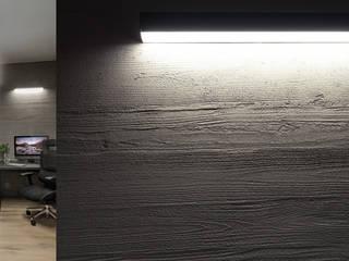 Piętro domu na planie otwartym – pokój rozrywkowy i gabinet właściciela Nowoczesne domowe biuro i gabinet od SZARA / studio Nowoczesny