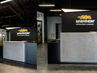 1500 m2 biurowca Marathon – projekt wnętrz siedziby firmy logistycznej SZARA / studio Biurowce Beton Czarny