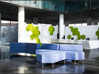 Przestrzenie biurowe i punkt obsługi – projekt wnętrz biurowych z wertykalnym ogrodem SZARA / studio Biurowce Niebieski