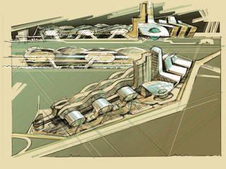 Эскиз многофункционального комплекса в районе Новой Москвы: Торговые центры в . Автор – BCG Architects