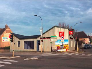 Agence bancaire ANA VAJNOVSZKI ARCHITECTE Espaces de bureaux modernes Bois Beige