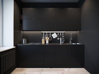 Irina Yakushina Minimalist kitchen MDF Black