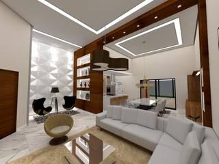 Casa E&M Danilo Rodrigues Arquitetura Salas de estar modernas