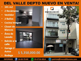 ESTRENA PADRISIMO DEPTO EN LA DEL VALLE: Condominios de estilo  por Immobiliare MX, Minimalista