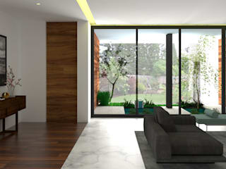 Garden House:  Living room by PSR Architecture