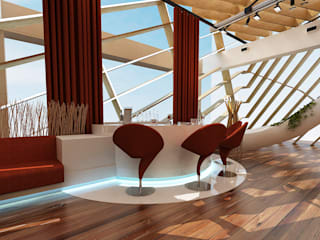 Roof Bar - Batum / Gürcistan Modern Balkon, Veranda & Teras Sia Moore Archıtecture Interıor Desıgn Modern