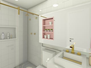 Joana Rezende Arquitetura e Arte Modern bathroom Pink
