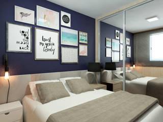 Apartamento BT Quartos modernos por Quatro Fatorial Arquitetura e Urbanismo Moderno