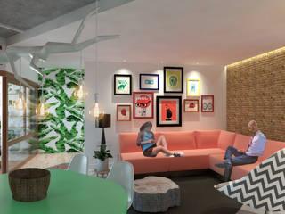 Apartamento F Salas de estar modernas por Quatro Fatorial Arquitetura e Urbanismo Moderno