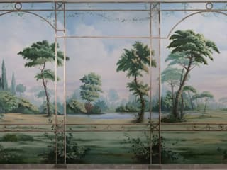 Paesaggio con ringhiera dorata. Pareti & Pavimenti in stile classico di erica de rosa, dipinti, affreschi, trompe l'oeil, decorazioni - Venezia Classico