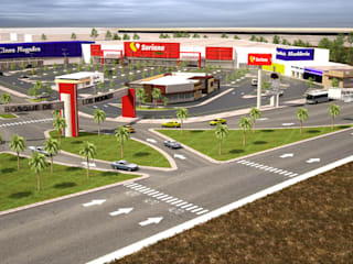 plaza comercial apodaca nuevo leon: Estudios y oficinas de estilo  por Arquitecto-Villarino, Moderno