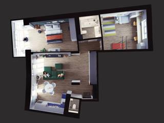 Трёхкомнатная квартира в Новосибирске Стены и пол в скандинавском стиле от Дизайнер Фёдор Иванов Скандинавский