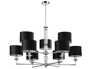 Artu Modern Luxury Chandelier 9 Arms Nickel Fabric Lampshades White Black Grey Luxury Chandelier BedroomLighting Copper/Bronze/Brass Black