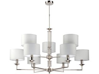 Artu Modern Luxury Chandelier 9 Arms Nickel Fabric Lampshades White Black Grey Luxury Chandelier Living roomLighting Copper/Bronze/Brass White