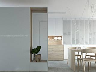 Metamorfoza szeregowca Minimalistyczny korytarz, przedpokój i schody od ANIEA Andrzej Niegrzybowski architekt Minimalistyczny