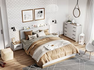 Sypialnia NEVORA - w odcieniach szarości od Lenart Dig-Net Nowoczesny