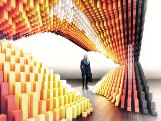 Protoforma Modernes Messe Design Holzspanplatte Orange
