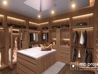 """Walking Closet """"MB"""" (Anteproyecto): Vestidores y closets de estilo  por Well Arquitectura"""