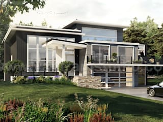 Modern Flat Roof Landscaping Exterior House Concept of Architectural Rendering Studio by 3D Architectural Design, London – UK Yantram Architectural Design Studio Modern