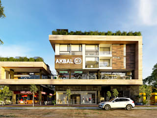 Proyecto comercial/departamentos AKBAL Espacios comerciales de estilo tropical de ARQUITECTURA AC+1 Tropical