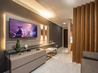 Decoração de flat moderno na praia, com 45m², em Natal-RN. por Espaço Arquitetural | Arquitetos em Natal Moderno