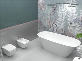 Tropikalna łazienka Minimalistyczna łazienka od Moble. Minimalistyczny