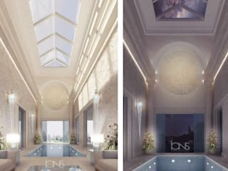 Refreshing Roman Style Indoor Pool – Design Ideas from IONS Design IONS DESIGN Patios & Decks Limestone White