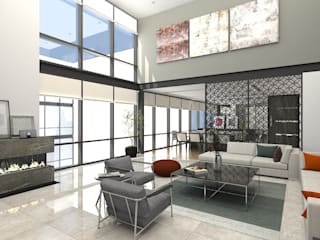 PENTHOUSE TECAMACHALCO Modern Living Room by Grupo AICONS Modern