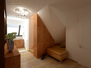 Anastasia Reicher Interior Design & Decoration in Wien Modern corridor, hallway & stairs Wood