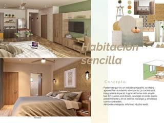 Opal Suites, Playa del Carmen: Recámaras de estilo  por Andrea Loya