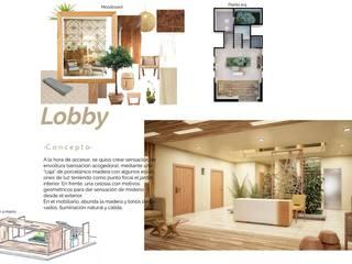 Opal Suites, Playa del Carmen: Pasillos y recibidores de estilo  por Andrea Loya