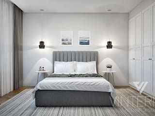 Grey&White one room flat Modern style bedroom by Vinterior - дизайн интерьера Modern