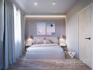 Modern combination of minimalism for young couple Minimalist bedroom by Vinterior - дизайн интерьера Minimalist