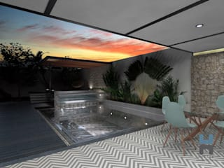 Heftye Arquitectura Garden Pool Reinforced concrete Wood effect