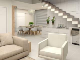 Apartamento para uma família com filhos: Salas de estar  por Projeto 3D Online