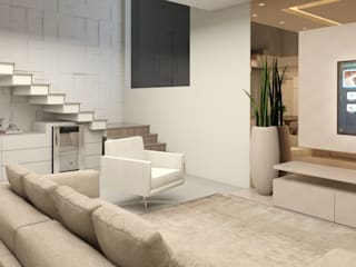 Apartamento para uma família com filhos Salas de estar modernas por Projeto 3D Online Moderno