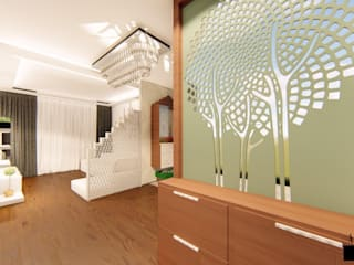 Premium Interior Design for a 3 BHK Apartment at Mantri Serene Chennai:  Corridor & hallway by Aikaa Designs